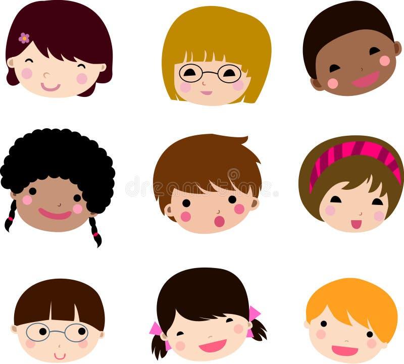 Download Set Of Cartoon Children Face Vector Stock Vector - Image: 12083533