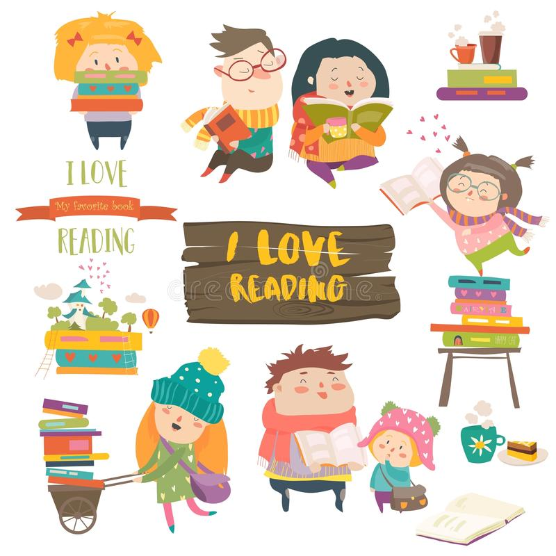 Set of cartoon children reading books. Vector collection royalty free illustration