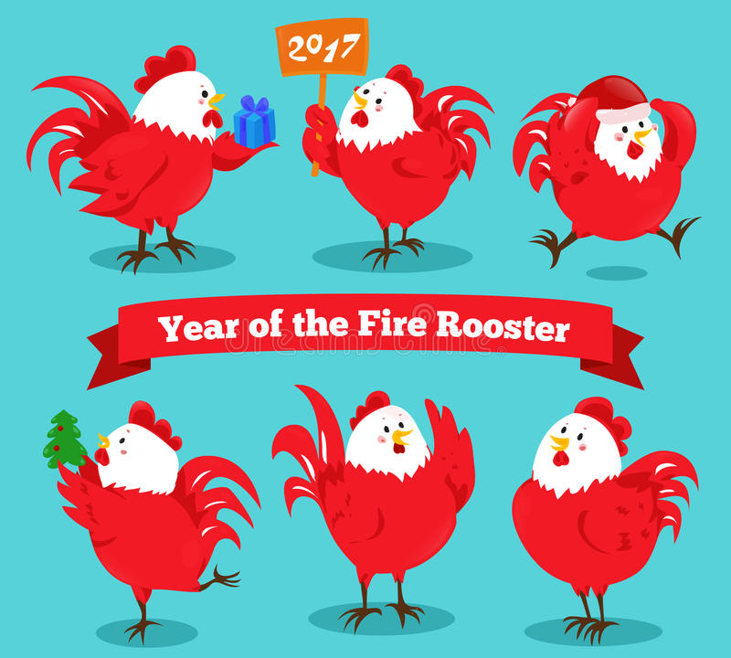 Set of cartoon chinese zodiac fire rooster. stock illustration