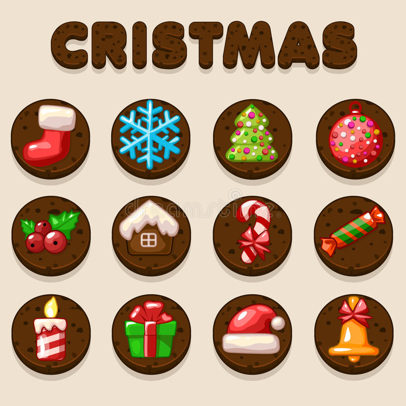 Set Cartoon Christmas Chocolate biskvit cookies, food icons royalty free illustration