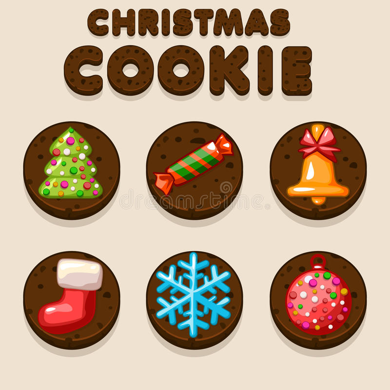 Set Cartoon Christmas Chocolate biskvit cookies, food icons stock illustration