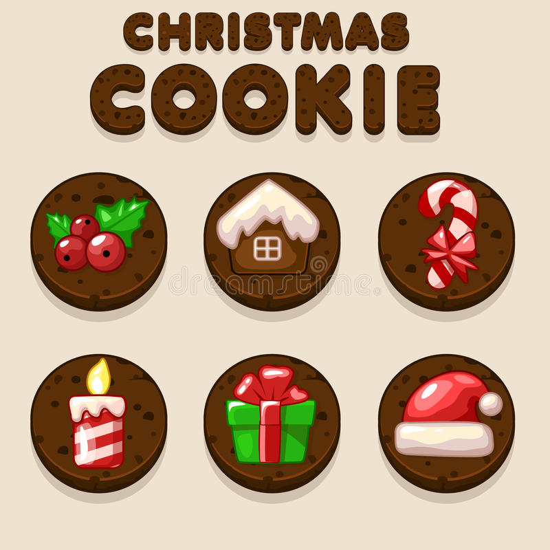 Set Cartoon Christmas Chocolate biskvit cookies, food icons vector illustration