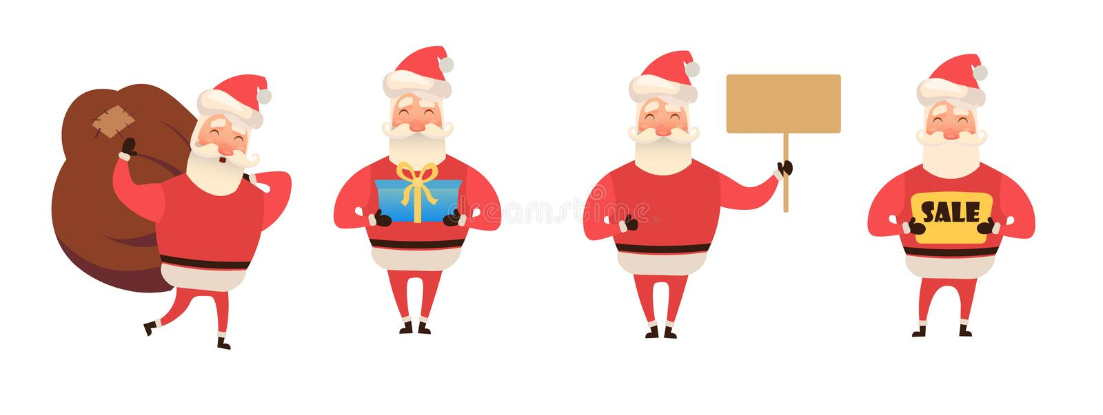 Set of cartoon Christmas illustrations isolated on white. Funny happy Santa Claus character with gift, bag with presents vector illustration