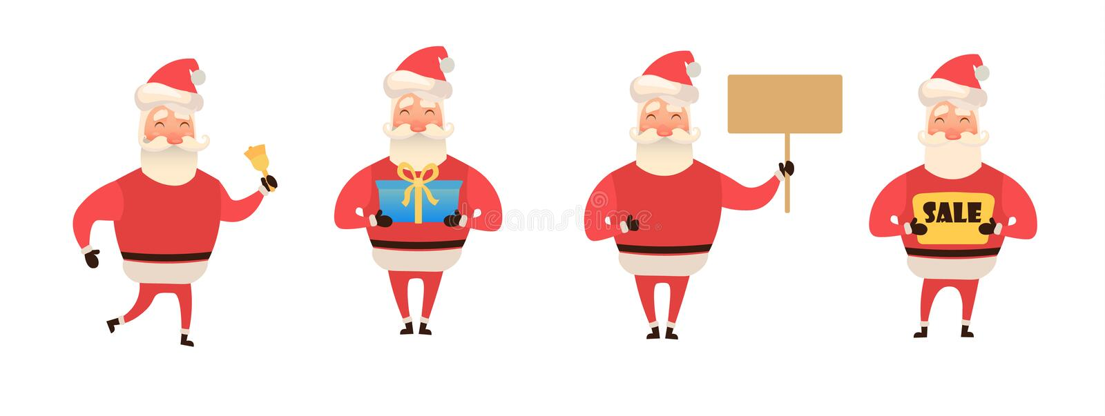 Set of cartoon Christmas illustrations isolated on white. Funny happy Santa Claus character with gift, bag with presents stock illustration