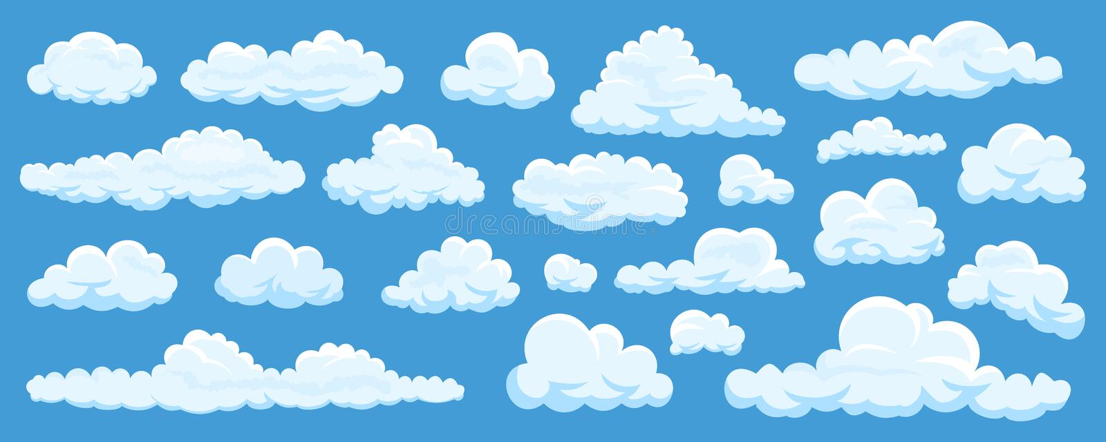 Set of cartoon clouds stock illustration