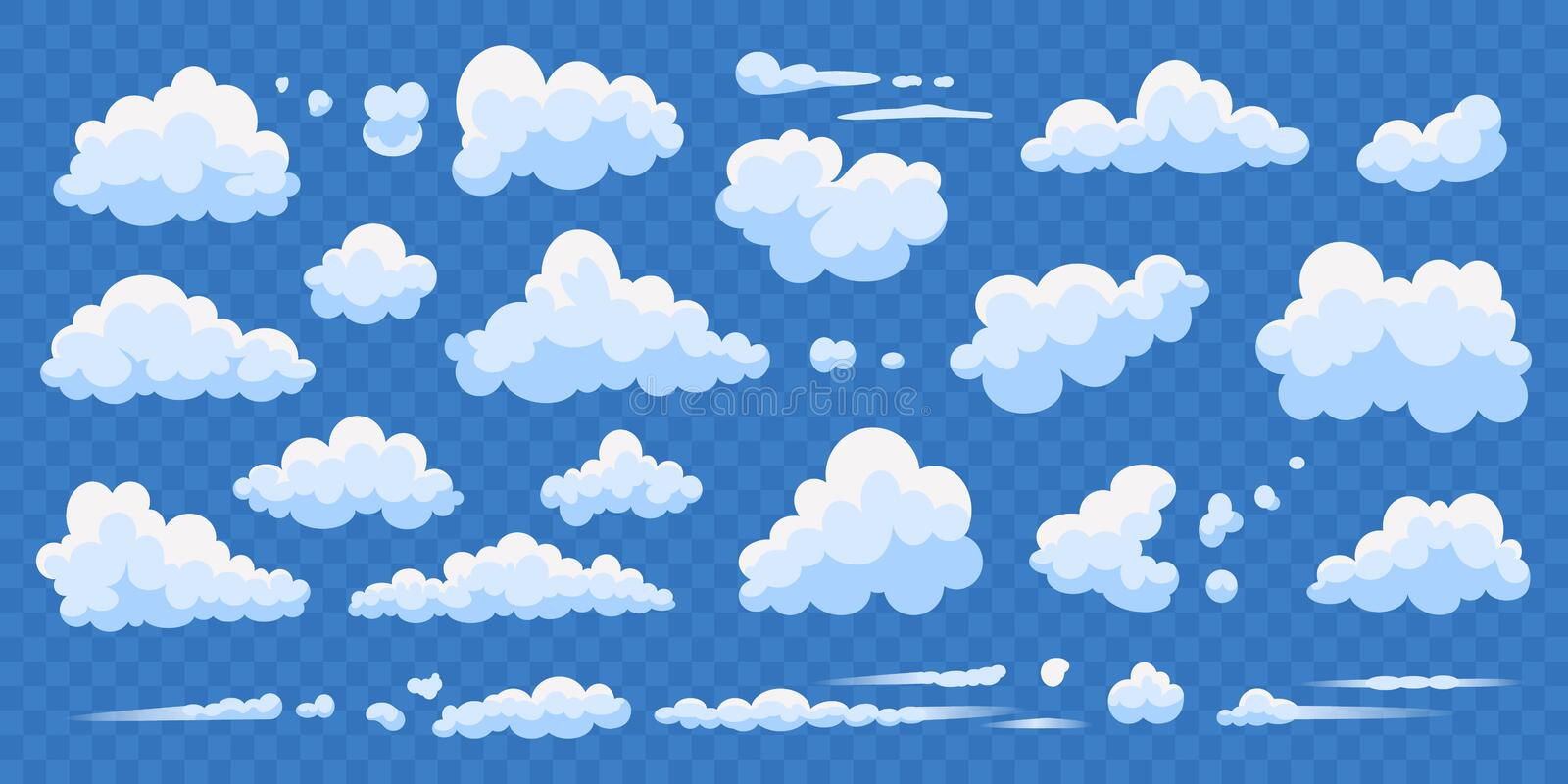 Set of cartoon clouds isolated on blue transparent background. Vector collection white cloud illustration. Blue cloudy vector illustration