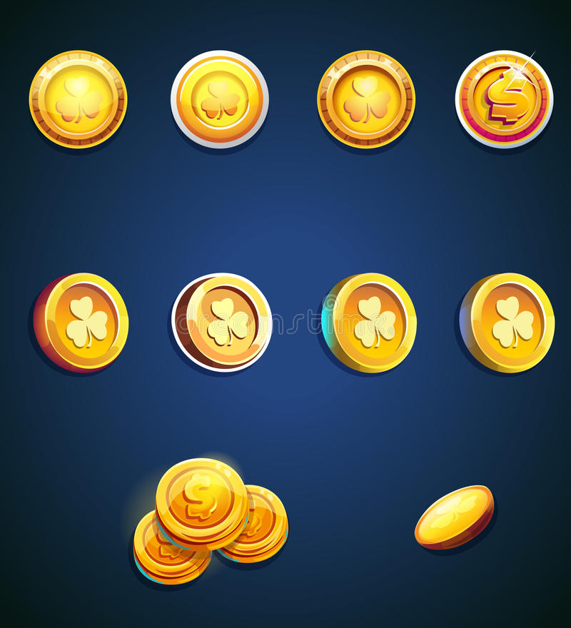 Set of cartoon coins. For web, game or application interface. Modern vector illustration game art stock illustration