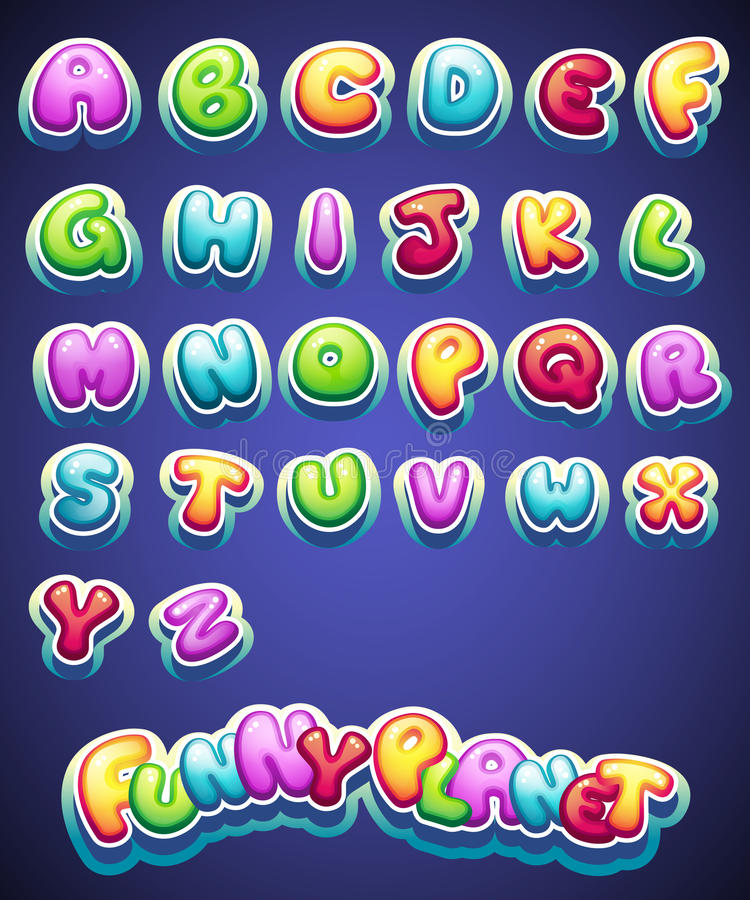Set of cartoon colored letters for decoration of different names for games. books and web design vector illustration