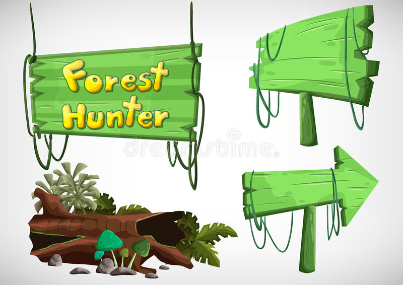 Set of cartoon colored wood label for use in the game and animation royalty free illustration