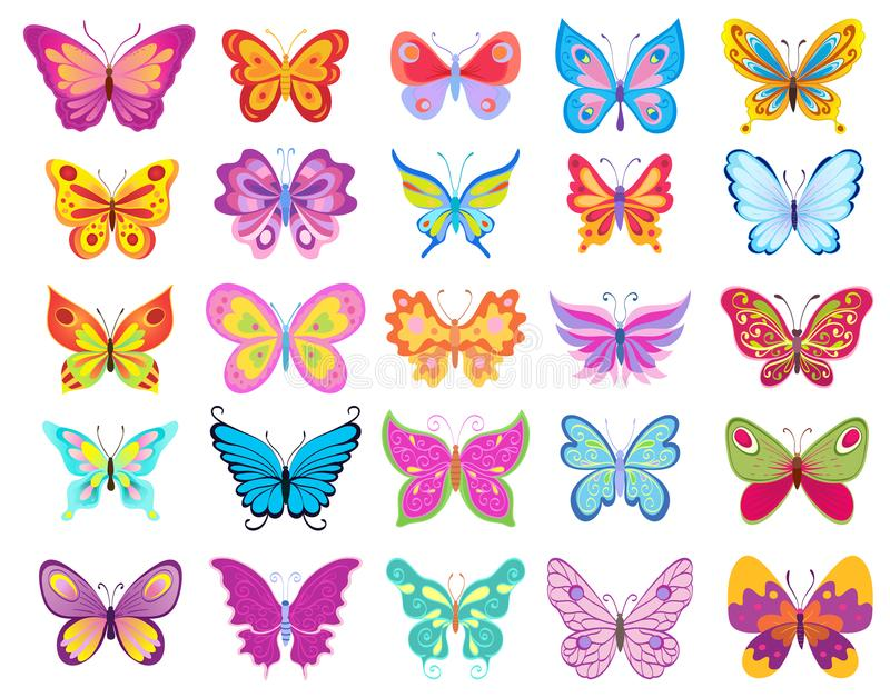 Set of cartoon colorful butterflies drawing on white vector illustration