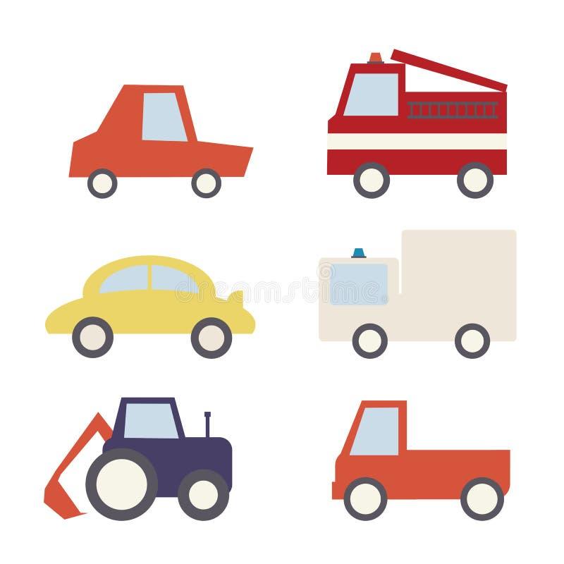 Set of cartoon comic cars stock illustration