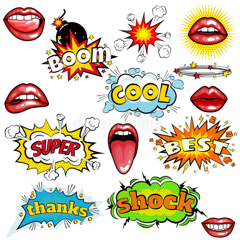 Set of cartoon comic super speech bubble labels with text, open red lips with teeth, retro cartoon vector pop art vector illustration