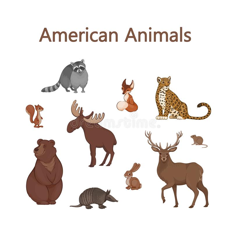 Set of cartoon cute American animals. Raccoon, fox, jaguar, squirrel, elk, bear, armadillo, hare, deer, vole stock illustration