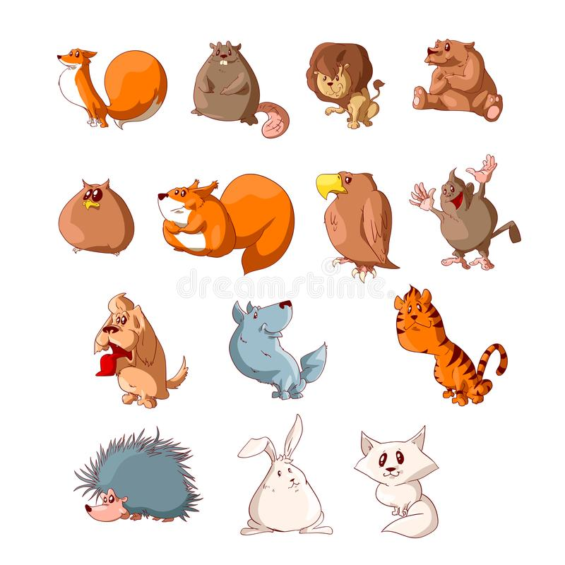 Set of cartoon cute animals. Collection of colorful vector cartoon cute animals illustrations royalty free illustration