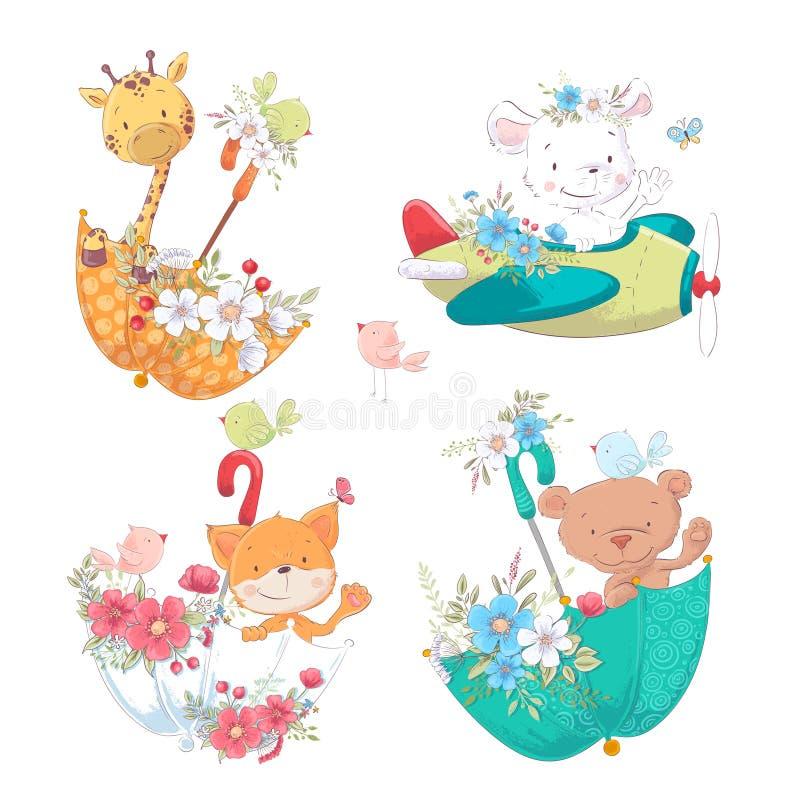 Set cartoon cute animals giraffe bear giraffe beary in umbels with flowers for children`s illustration. Set cartoon cute animals monkey, sheep giraffe bear stock illustration