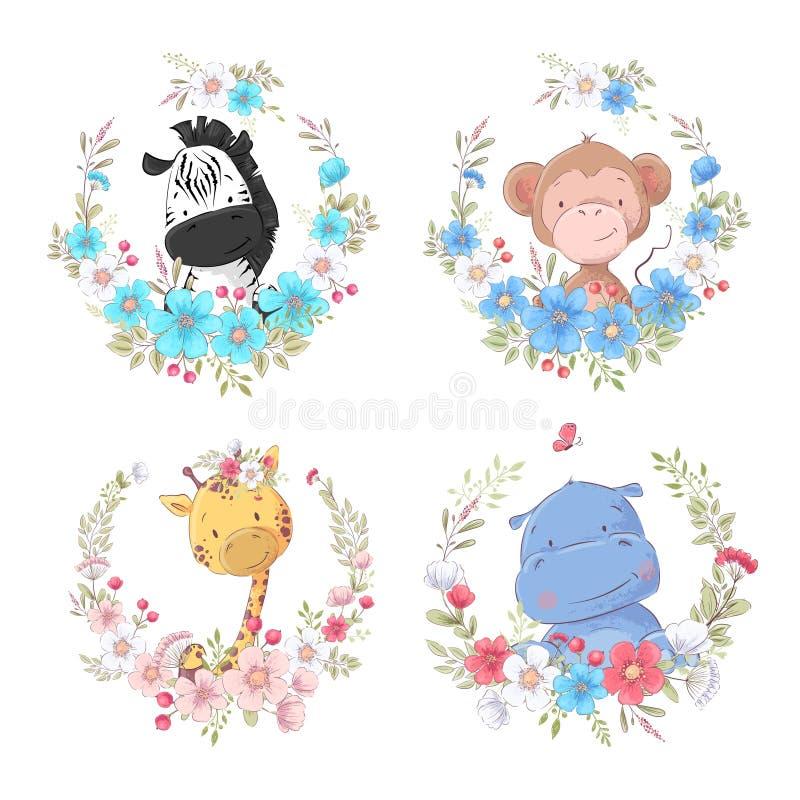 Set of cartoon cute animals zebra monkey giraffe and hippo in flower wreaths children`s clipart. stock illustration