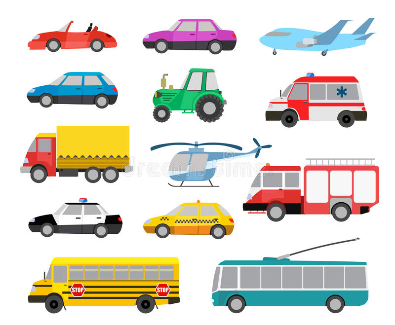 Set of cartoon cute cars and vehicles vector illustration