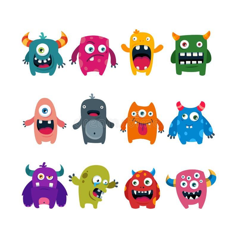 Set of cartoon cute monsters. flat vector illustration stock illustration