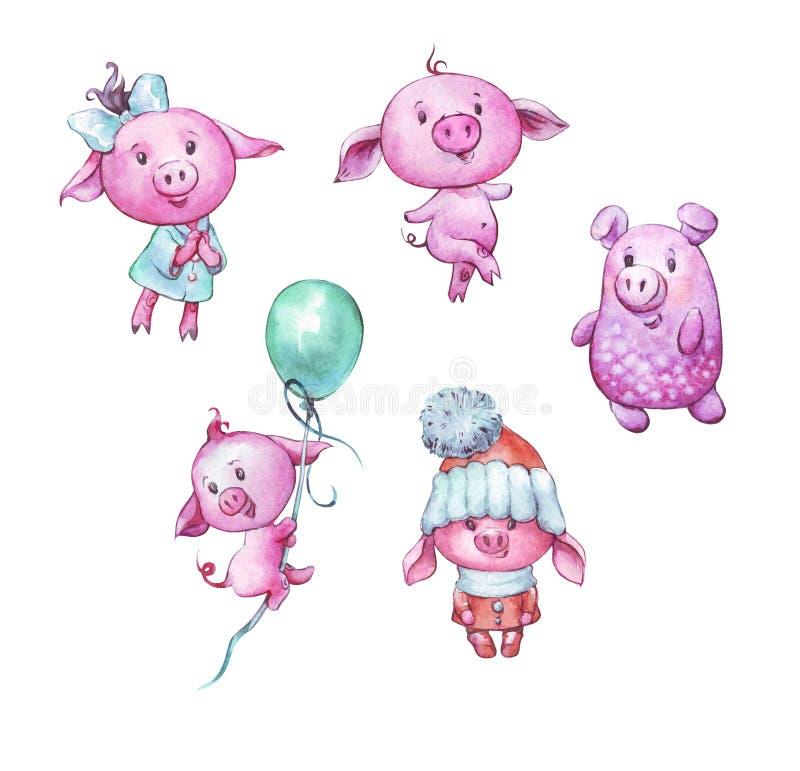 Set of cartoon cute pigs royalty free stock photos