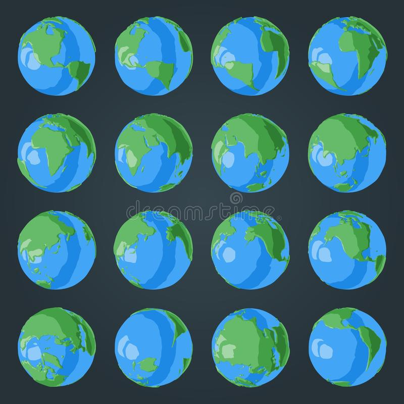 Set of cartoon 3D globe with green continents and blue oceans with glossy effect. For Earth day illustrations stock illustration