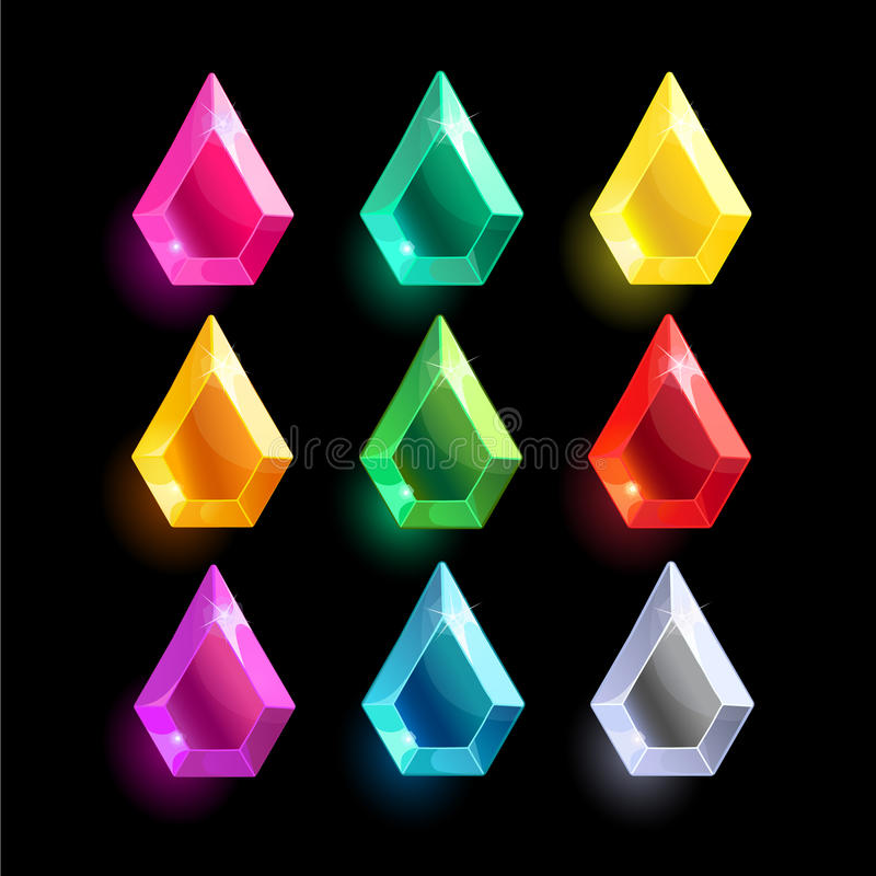 Set of cartoon different color crystals. Gemstones,gems,diamonds vector gui assets collection for game design.isolated vector elements.Gui elements, vector royalty free illustration