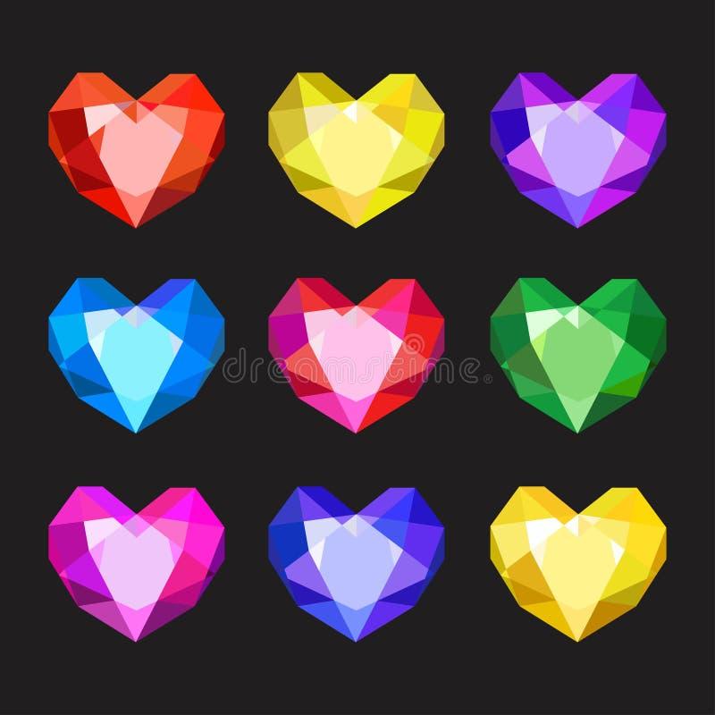 Set of cartoon different color crystals, gemstones, gems, diamonds vector. Vector image on black background. Set of cartoon different color crystals, gemstones royalty free illustration