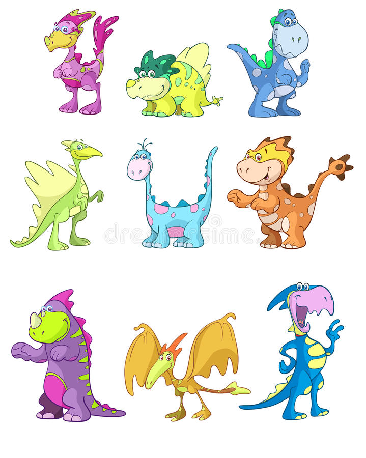 Set of cartoon dinosaurs. Set of colorful cartoon dinosaurs isolated on white background vector illustration
