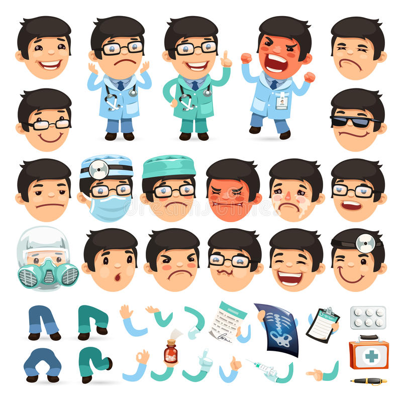 Character Design Career Path : Set of cartoon doctor character for your design or stock