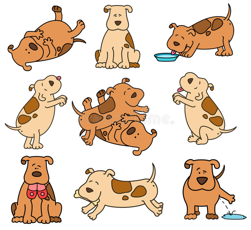 Set of cartoon dogs vector illustration