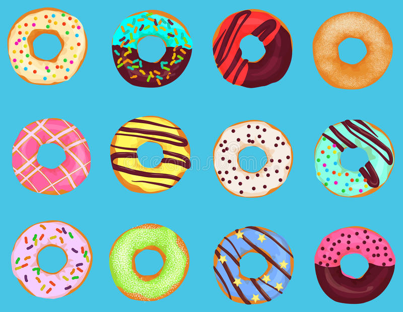 Set of cartoon doughnuts donut cake isolated on bright blue background. Pastry donuts menu. royalty free illustration