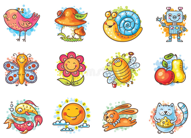 Set of cartoon elements for kids designs royalty free illustration