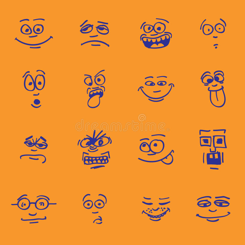 Download Set of cartoon emotion stock illustration. Image of mouth - 25489356