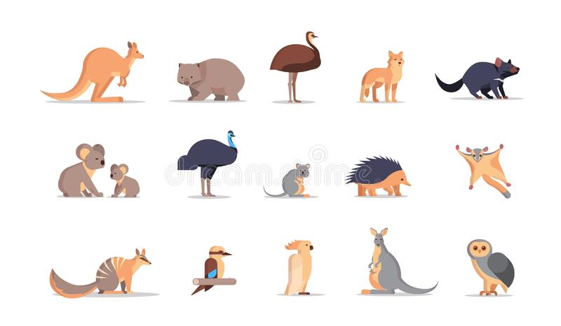 Set cartoon endangered wild australian animals collection wildlife species fauna concept flat horizontal royalty free illustration