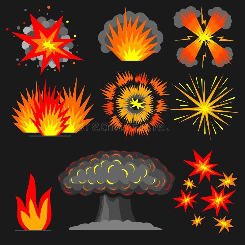 Set cartoon explosions. vector illustration