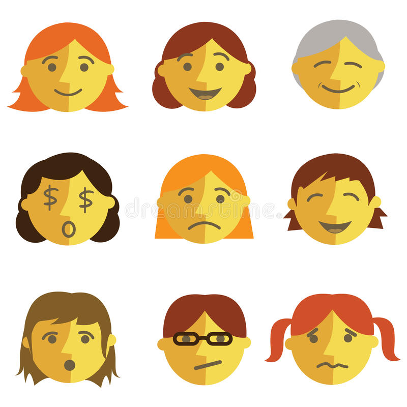 Set of cartoon face emotions stock illustration