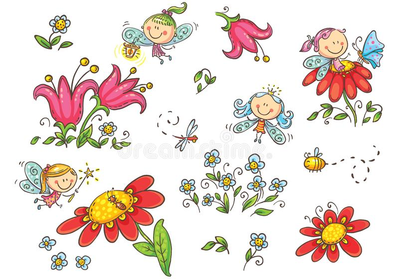 Set of cartoon fairies, insects, flowers and elements, vector graphics stock illustration