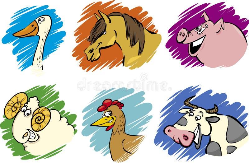 Download Set Of Cartoon Farm Animals Stock Vector - Illustration: 24177441