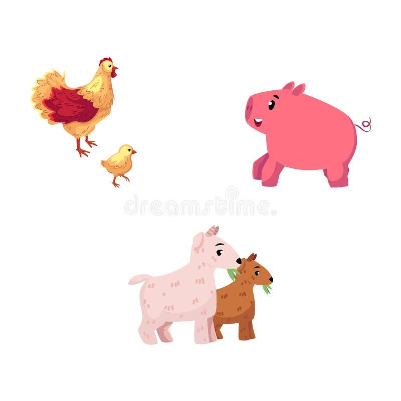 Set of cartoon farm animals - chicken, pig, goat vector illustration