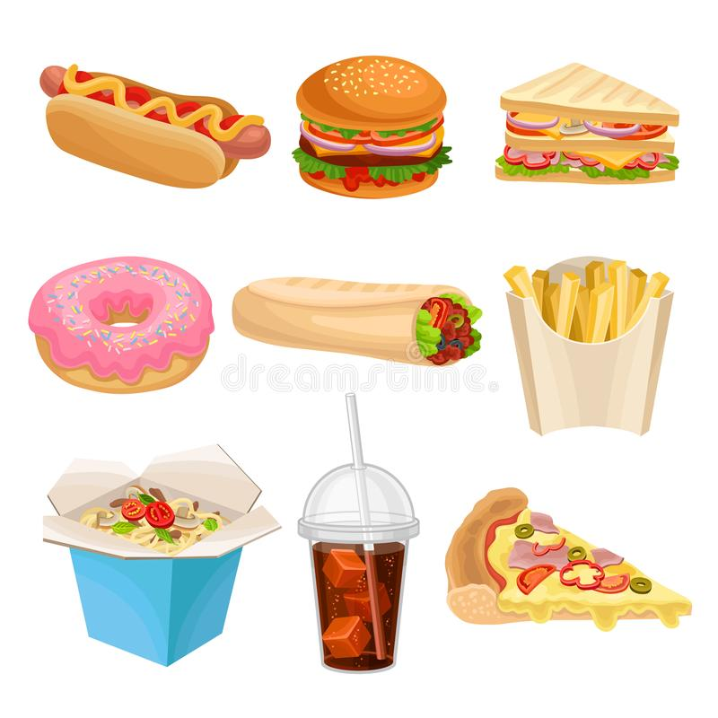 Flat vector set of fast-food icons. Delicious snack for lunch. Unhealthy nutrition vector illustration