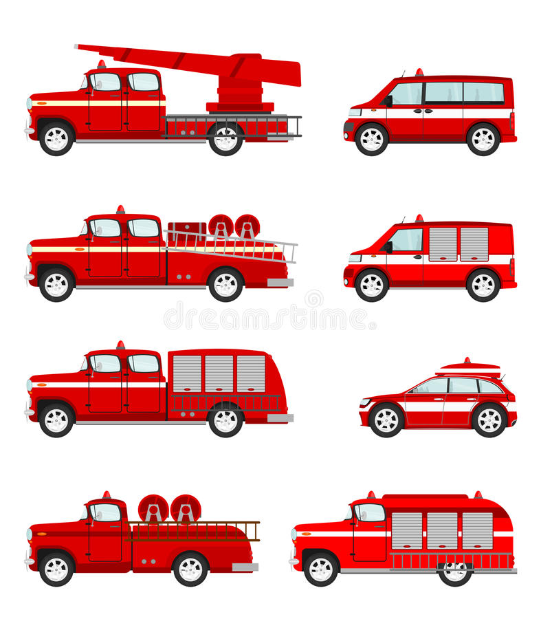 Set of cartoon firetruck stock illustration