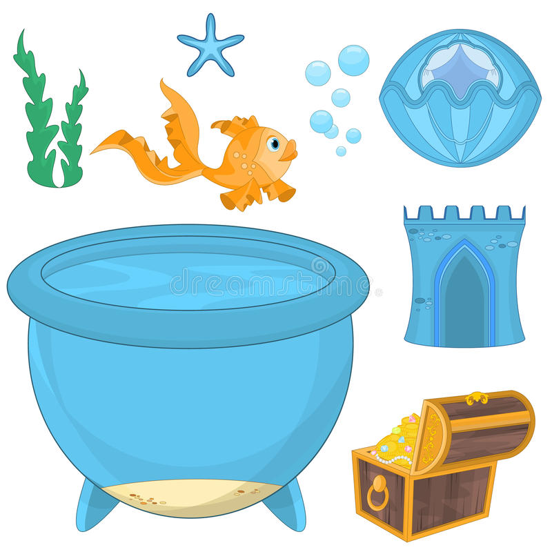 Set of cartoon fish elements for aquarium decoration for Create your own fish