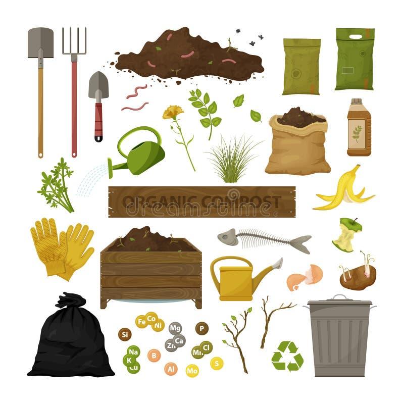 Set of cartoon flat icons. Organic compost theme. Garden tools, wooden box, ground, food garbage. Illustration of bio, organic vector illustration