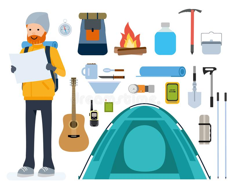 Set of cartoon flat vector icons. Tourism, tent, climbing, mountaineering, overnight, adventure. Set of cartoon flat vector icons. Tourism, tent, climbing vector illustration