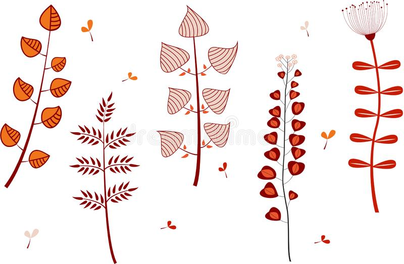 Set of cartoon flowers. stock illustration