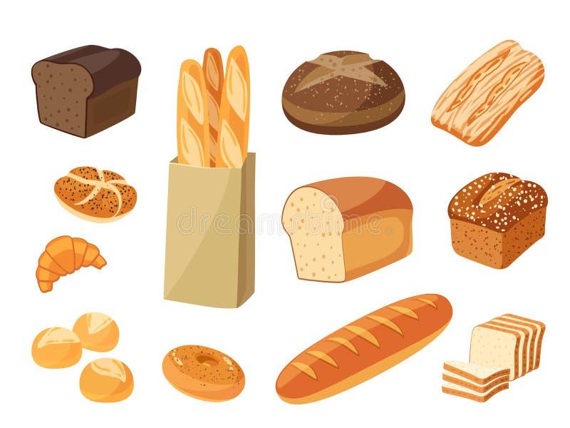 Set of cartoon food: bread. Rye bread, ciabatta, wheat bread, whole grain bread, bagel, sliced bread, french baguette, croissant and so. Vector illustration stock illustration