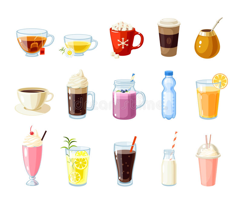 Set of cartoon food: non-alcoholic beverages. Tea, herbal tea, hot chocolate, latte, mate, coffee, root beer, smoothie, juice, milk shake, lemonade and so stock illustration