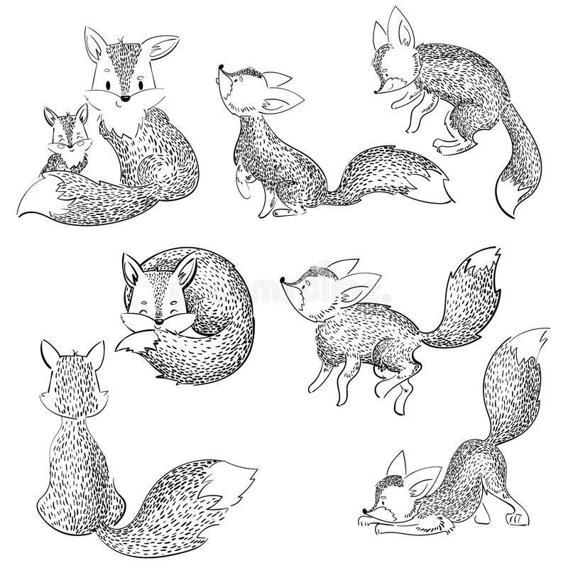 Set of cartoon foxes. Collection of cute foxes. Vector illustration for children. Black and white wild animals. stock illustration