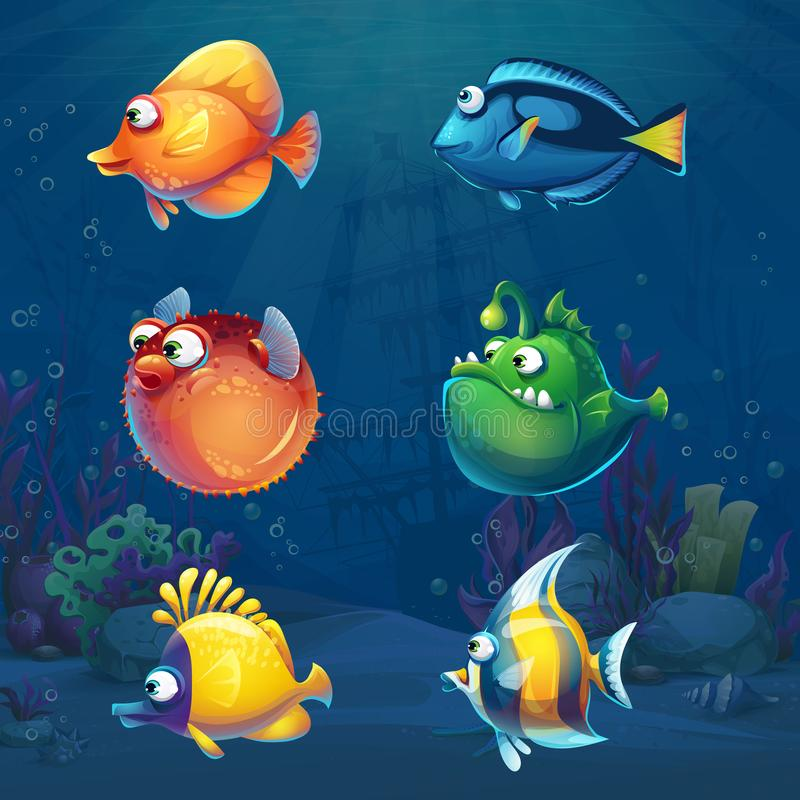 Set of cartoon funny fish in underwater world. Background. Marine Life Landscape with different inhabitants. For design websites and mobile phones, printing royalty free illustration