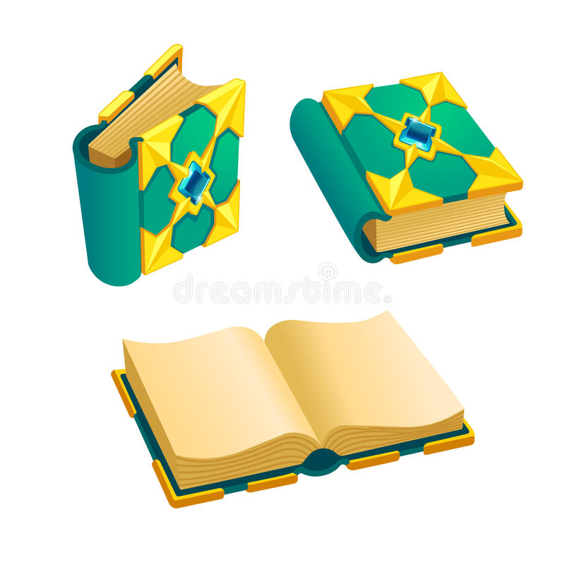 Set of cartoon green book. From different angles.Isolated vector elements for game design royalty free illustration