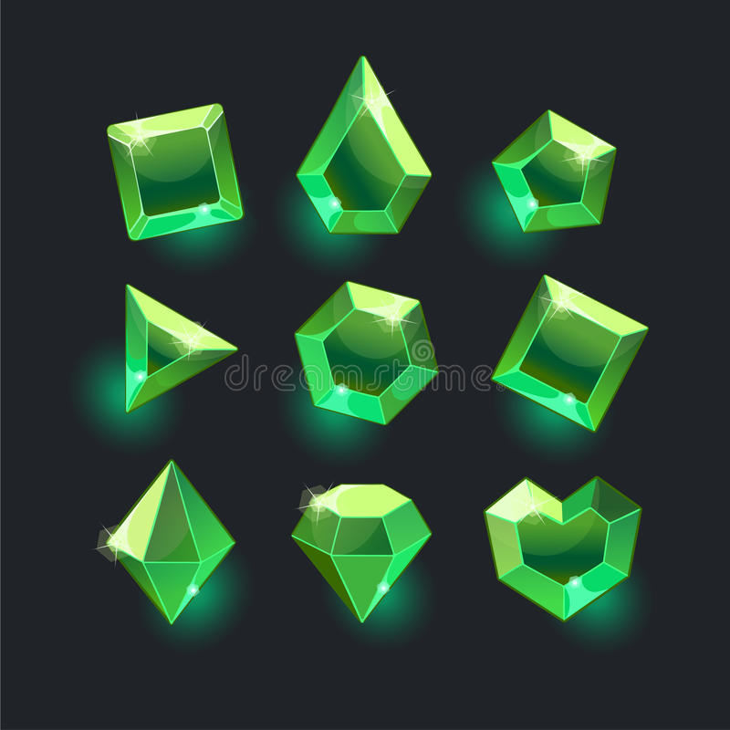 Set of cartoon green different shapes crystals. Gemstones,gems,diamonds vector gui assets collection for game design.isolated vector elements.Gui elements royalty free illustration